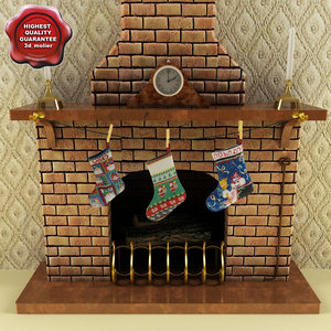 3d new year fireplace