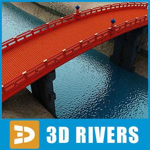 3d japan bridge arched model