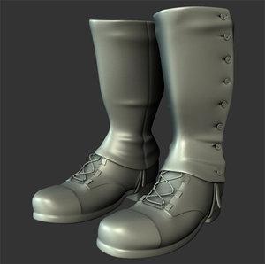 3d model ww2 soldier boots