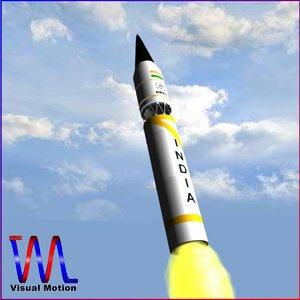3d model of india intermediate ballistic