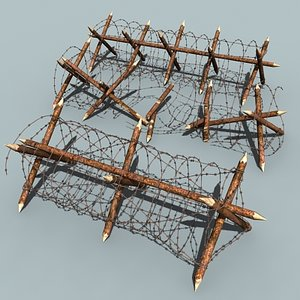 3d model barbed wire barriers