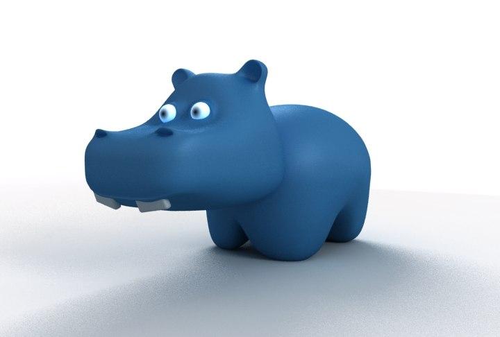 3d model big blue cartoon hippo