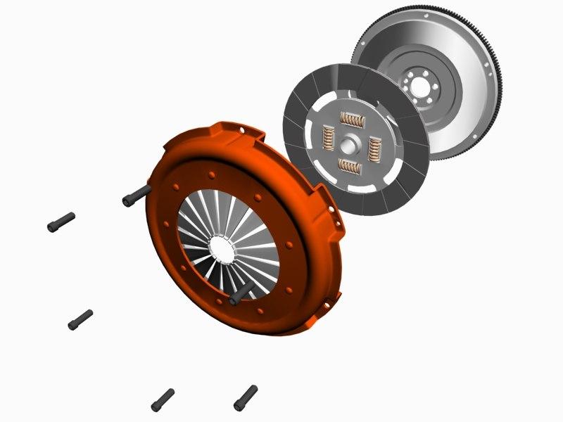 3d model clutch flywheel assembly engine