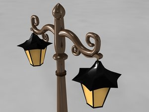street lamp polygonal - 3d model