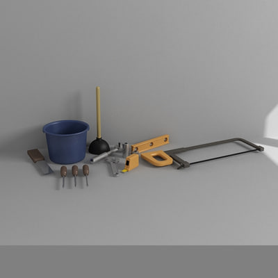 3d bucket wrenches saw model