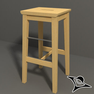 ikea stool wood 3d model