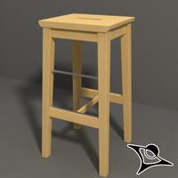 ikea stool wood 3d model