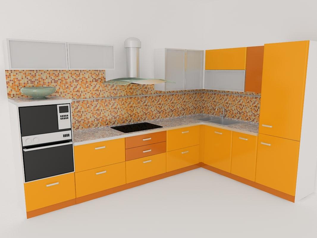 simple corner kitchen 3d max