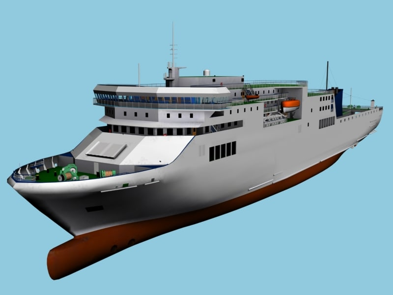 ferry vessel ship 3d model