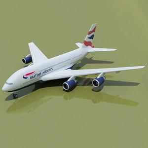 airbus a380 british 3d model