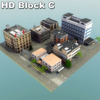 city block buildings 3d model