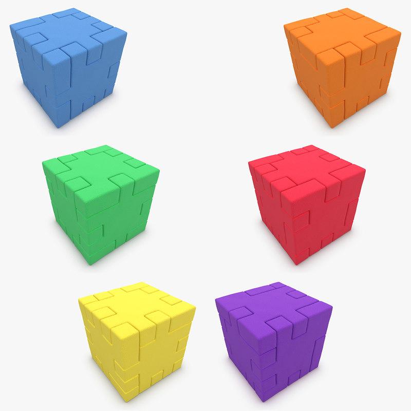 3d happy cube set model