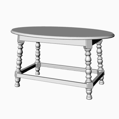 3dm oval country cocktail table