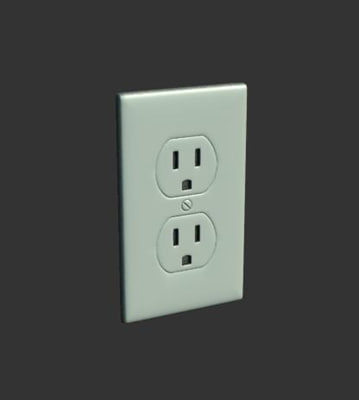 3d model wall power outlet