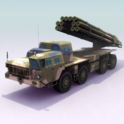 9k58 smerch mlrs 3d model