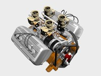 ardun stromberg v8 engine 3d model