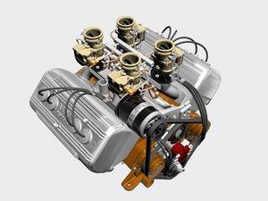 ardun stromberg v8 engine 3d model