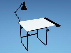 3d model art desk chair lamp