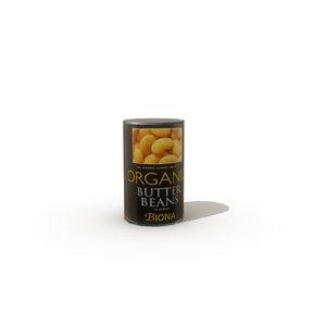 tinned butter beans 3d obj