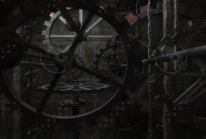 3d clock tower gears interior scene