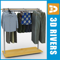 Clothes display rack 01 full by 3DRivers