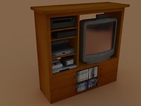 Entertainment center with television and media equipment.