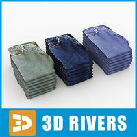 folded jeans 3d model