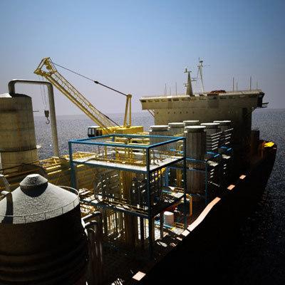 fpso drill ship 3d model