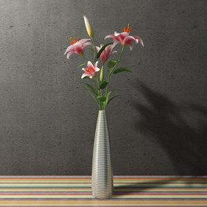 contemporary flower madonna lilies 3d model