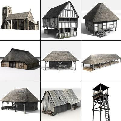 3d medieval village set