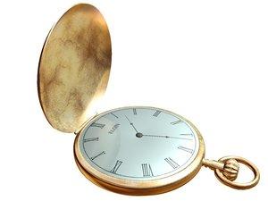 3d gold pocket watch
