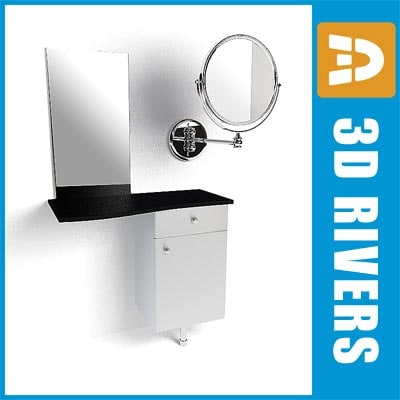 3d model salon styling unit mirror