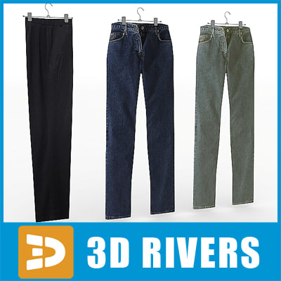 3ds max men trousers set pants