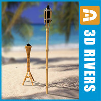 wooden torches light 3d 3ds