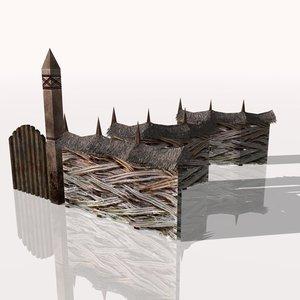 3d medieval fence model