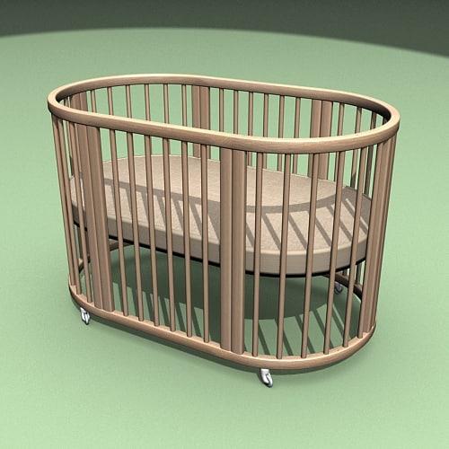 3d child crib model