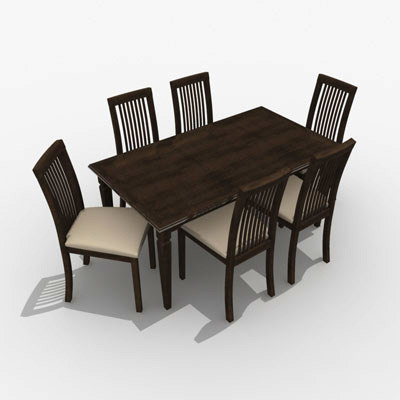timber dining setting 3ds free