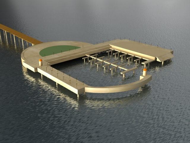 3d model ship dock architectural -
