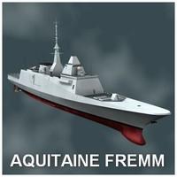 fremm multimission frigate aquitaine 3d max