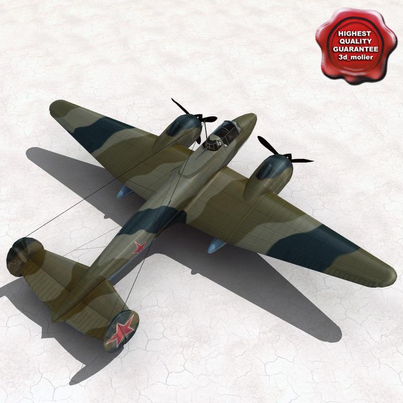 petlyakov pe-2 bomber 3d model
