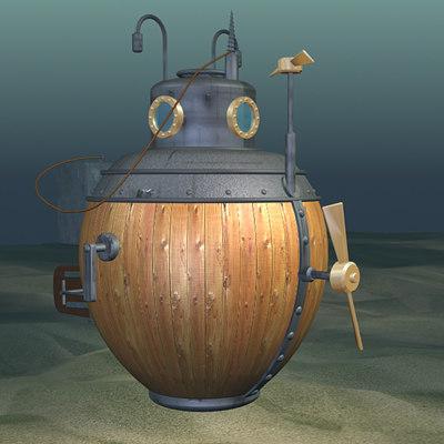 turtle submarine 1775 3d model