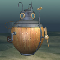 turtle submarine 1775 3d model