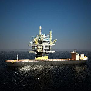 3d spar oil platform tanker ship model