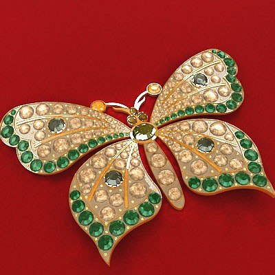 butterfly brooch 3d max