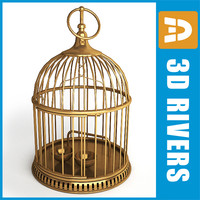retro birdcage birds cage 3d model