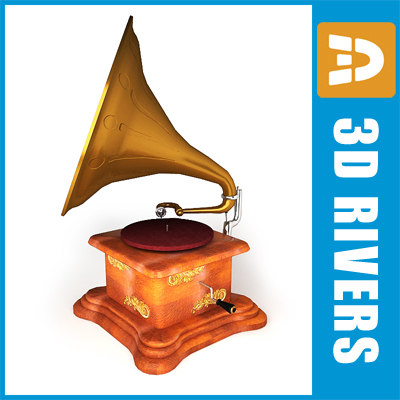 3d model retro gramophone