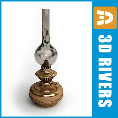 3d model of old oil lamp light