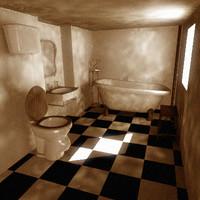 3ds max old bathroom interior