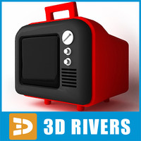 3d old tv retro model