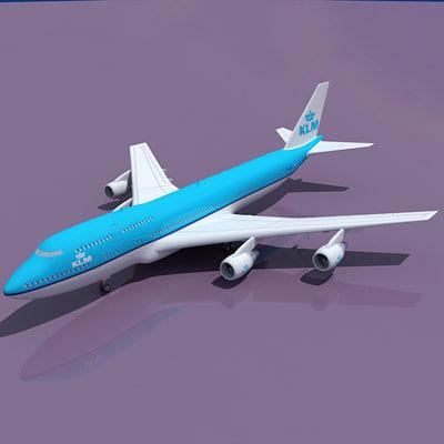 b 747 klm 3d max
